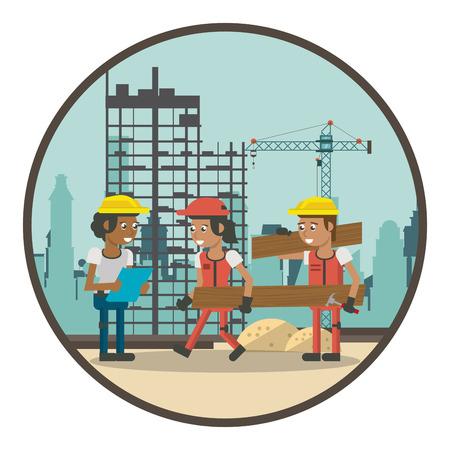 Geometrische arbeiders bij de tekenfilms van de bouwstreek rond pictogram vectorillustratie grafisch ontwerp Vector Illustratie