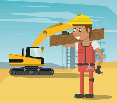 Worker at construction zone geometric cartoons vector illustration graphic design