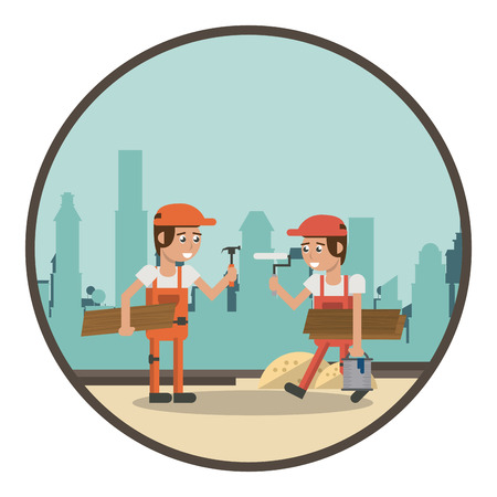 Geometric workers at construction zone cartoons round icon vector illustration graphic design