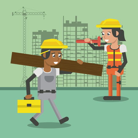 Worker geometric cartoon at construction zone cartoons vector illustration graphic design Illustration
