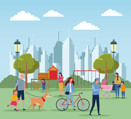Families with kids in park at sunny day scenery vector illustration graphic design Illustration