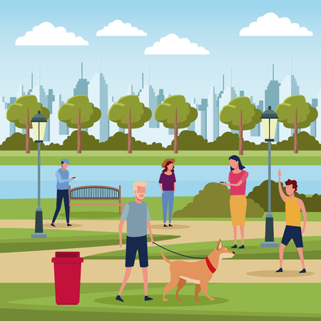 People in park at sunny day scenery vector illustration graphic design