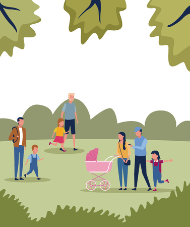 Families with kids in park at sunny day scenery vector illustration graphic design Vectores