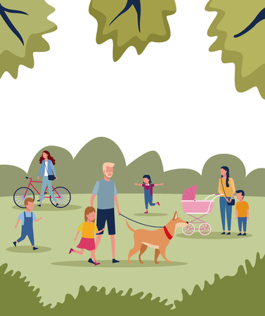 Families with kids in park at sunny day scenery vector illustration graphic design Ilustrace