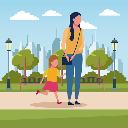 Mother with daugther at city park scenery vector illustration graphic design Illustration