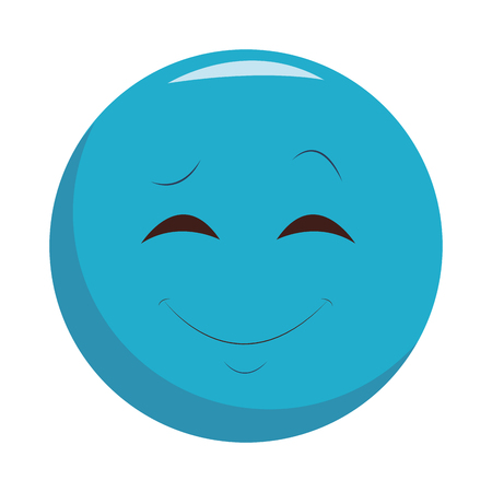 Smiling chat emoticon isolated vector illustration graphic design