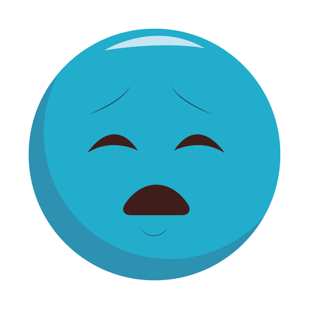 Worried chat emoticon isolated vector illustration graphic design