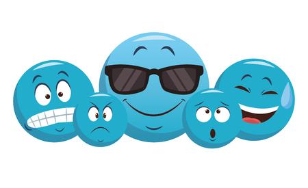 Set of chat emoticons vector illustration graphic design