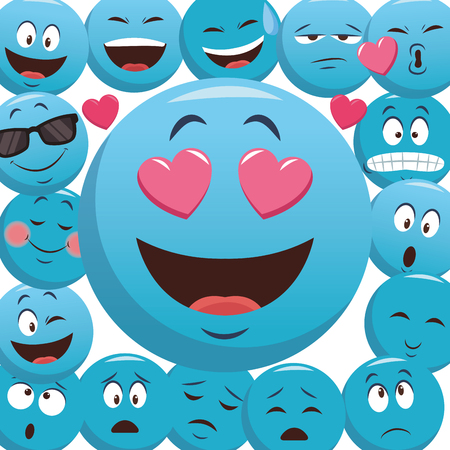 Emoticons pattern background concept vector illustration graphic design Stock Illustratie
