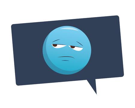 Bored emoticon in bubble vector illustration graphic design