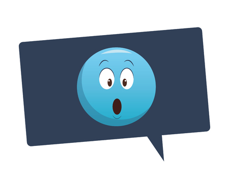 Suprised emoticon inside bubble vector illustration graphic design