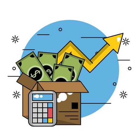 Dinero y efectivo de inversión empresarial dentro de la caja con calculadora ilustración vectorial diseño gráfico