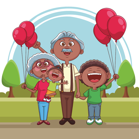 Grandparents with niece and grandson at park vector illustration graphic design
