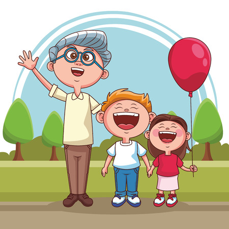Grandfather with grandson and niece at park vector illustration graphic design