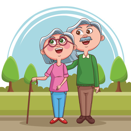 Grandparents couple in love at park vector illustration graphic design 스톡 콘텐츠 - 110138337