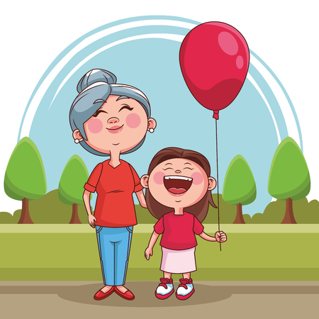 Grandmother with niece at park vector illustration graphic design