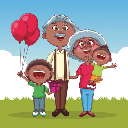 Grandparents couple with cute childs at park cartoons vector illustration graphic design