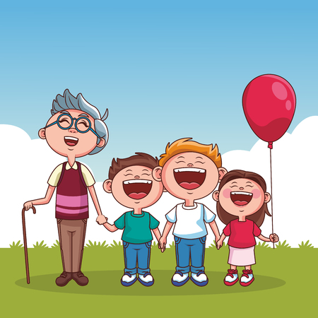 Grandfather with grandsons and niece at park vector illustration graphic design 일러스트