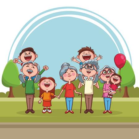 Großelternpaare mit niedlichen Kindern im Parkkarikaturvektorillustrationsgrafikdesign