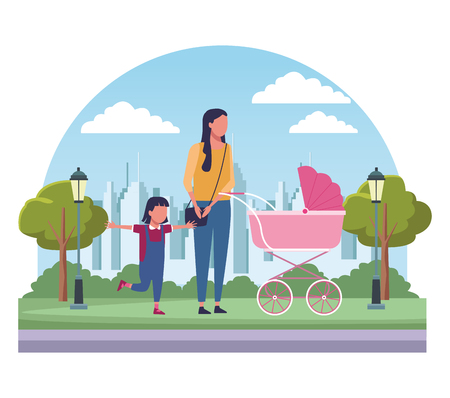 Single mom with child at park scenery cartoons vector illustration graphic design