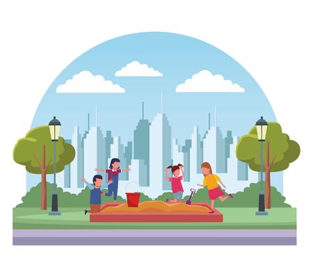 Kids having fun at city park cartoon scenery vector illustration graphic design