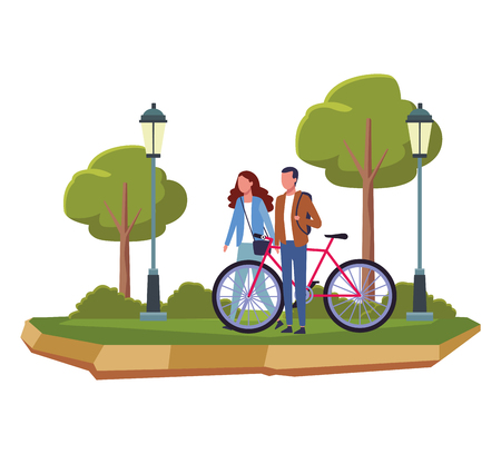 Couple with bike at park scenery vector illustration graphic design Illustration