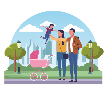 Parents with children at park scenery cartoons vector illustration graphic design Vectores