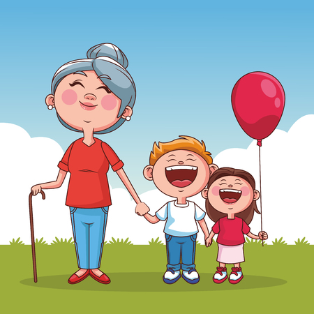 Grandmother with niece and grandson at park vector illustration graphic design