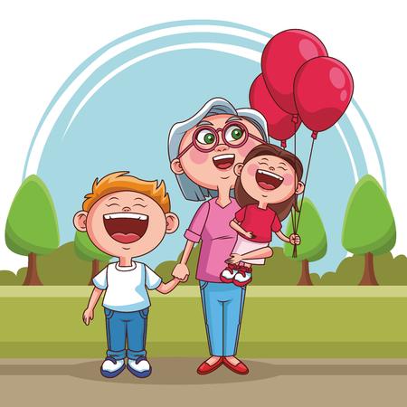 Grandmother with grandson and niece at park vector illustration graphic design Ilustração Vetorial