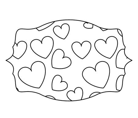 Hearts inside label emblem vector illustration graphic design Standard-Bild - 110138539