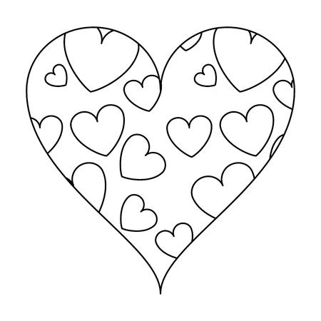 Hearts inside heart frame vector illustration graphic design
