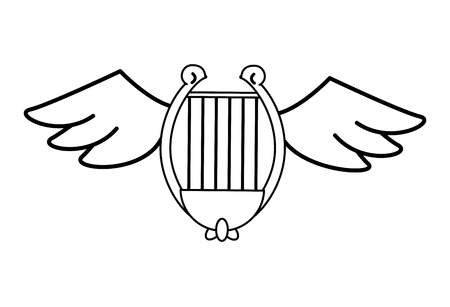 Harp with wings vector illustration graphic design
