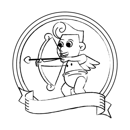 Cupid with arch on round emblem vector illustration graphic design