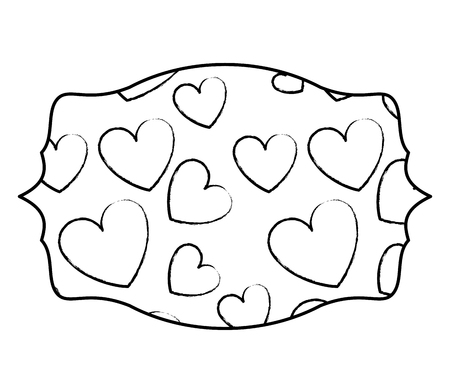 Hearts inside label emblem vector illustration graphic design Standard-Bild - 110138673