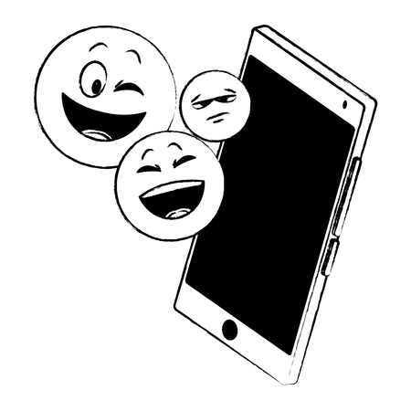 Emoticon on smartphone vector illustration graphic design