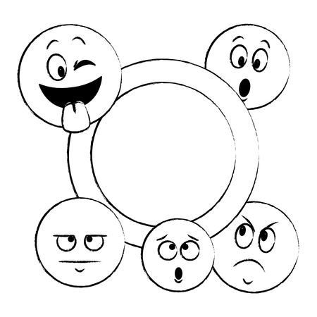 Emoticons with round frame concept vector illustration graphic design Stock Illustratie
