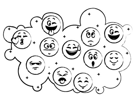Set of chat round emoticons vector illustration graphic design
