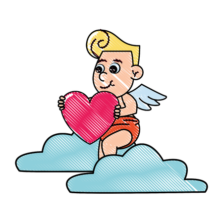Cupid on cloud with heart vector illustration graphic design