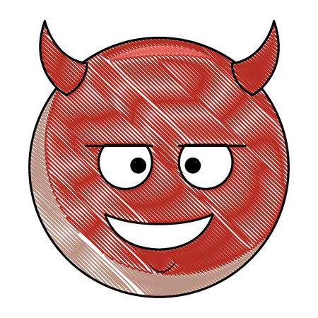 Devil chat emoticon vector illustration graphic design