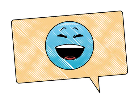 Laugh emoticon in bubble vector illustration graphic design Illustration