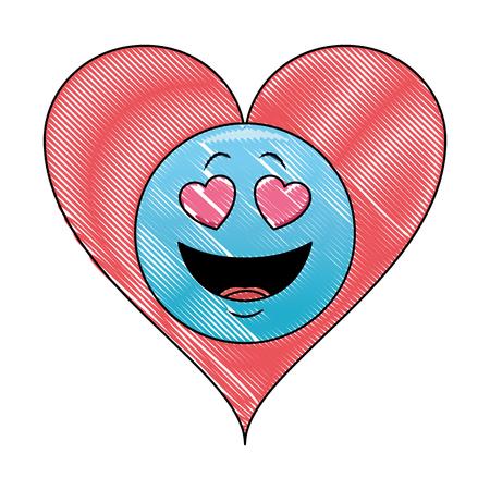 Love emoticon in bubble vector illustration graphic design