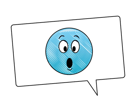 Suprised emoticon inside bubble vector illustration graphic design