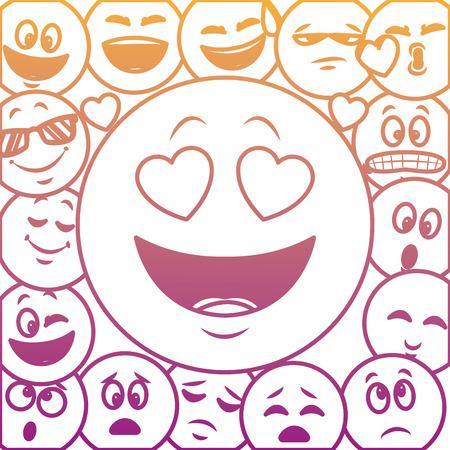 Emoticons pattern background concept vector illustration graphic design Stock Illustratie