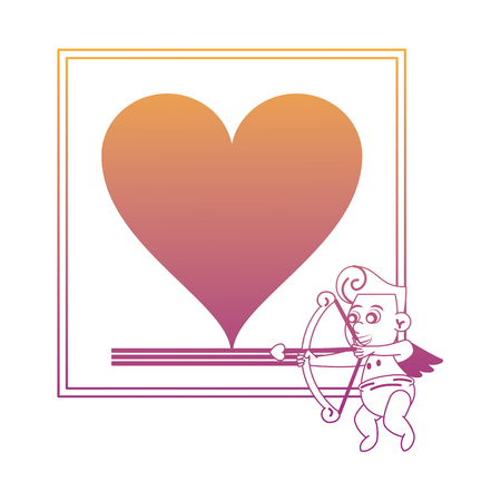 Fram with heart and cupid vector illustration graphic design