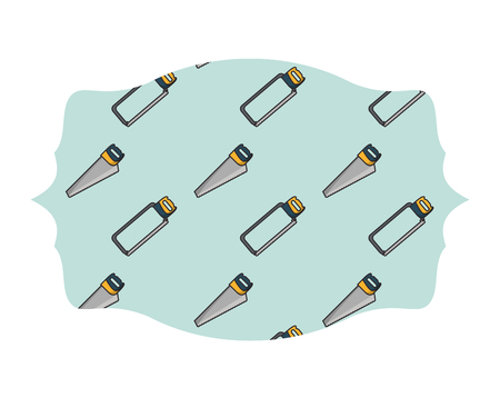 Hacksaw and saw label frame pattern tools vector illustration graphic design