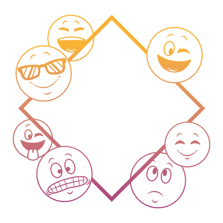 Emoticons diamond shape frame concept vector illustration graphic design Vettoriali
