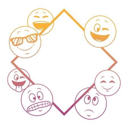 Emoticons diamond shape frame concept vector illustration graphic design Illustration