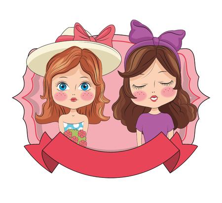 Fashion girls on emblem with blank ribbon banner vector illustration graphic design Vektorové ilustrace