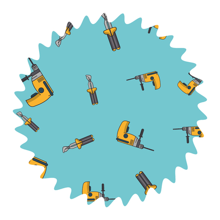 Drill and screwdriver construction round label vector illustration graphic design