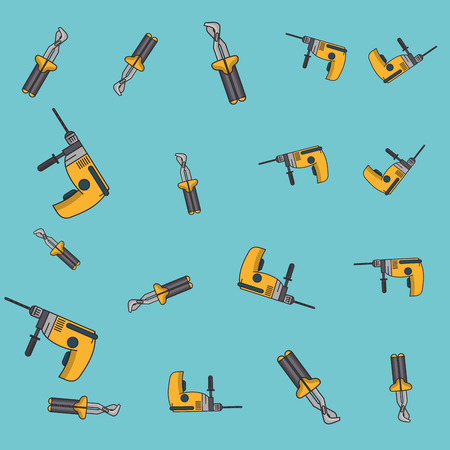 Drill and screwdriver pattern background vector illustration graphic design